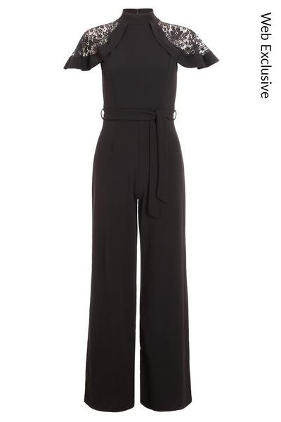 Black Lace Insert Frill Sleeve High Neck Jumpsuit